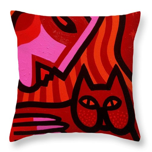 Acrylic Throw Pillow featuring the painting Cat Woman by John Nolan