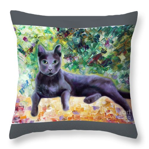 Cat Throw Pillow featuring the painting Cat by Yana Sadykova