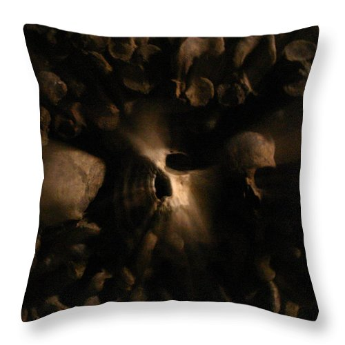 Throw Pillow featuring the photograph Catacombs - Paria France 3 by Jennifer McDuffie