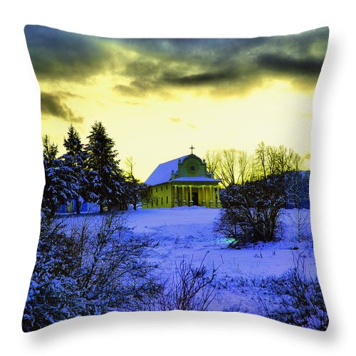 Church Throw Pillow featuring the photograph Cataldo Mission by Jeff Swan
