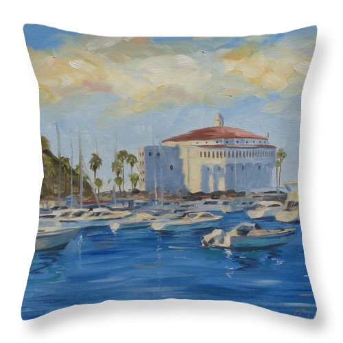 California Throw Pillow featuring the painting Catallina Casino by Jay Johnson