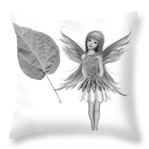 Tree Throw Pillow featuring the digital art Catalpa Tree Fairy With Leaf B And W by Yuichi Tanabe