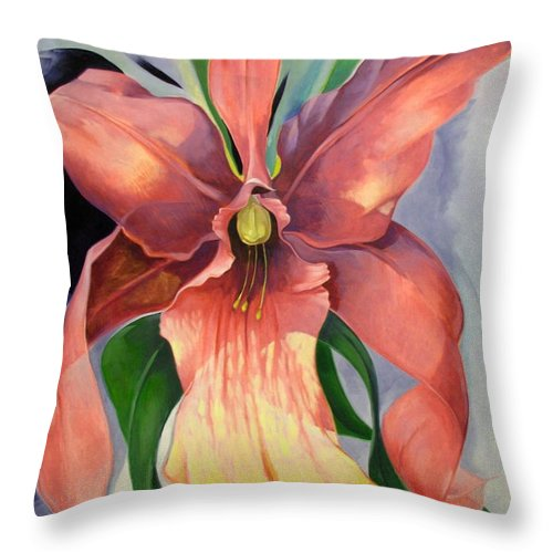 Catalya Throw Pillow featuring the painting Catalya Orchid by Jerrold Carton