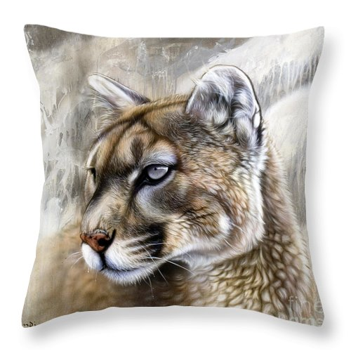 Acrylic Throw Pillow featuring the painting Catamount by Sandi Baker