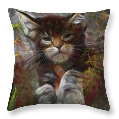 Cat Throw Pillow featuring the digital art Catatude by John Robert Beck