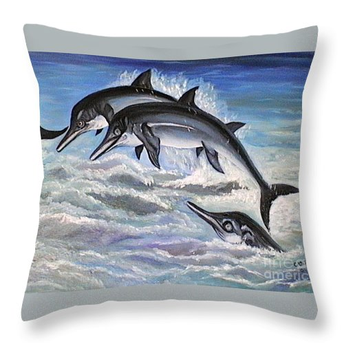 Dolphins Throw Pillow featuring the painting Catch Me If You Can by Usha Rai