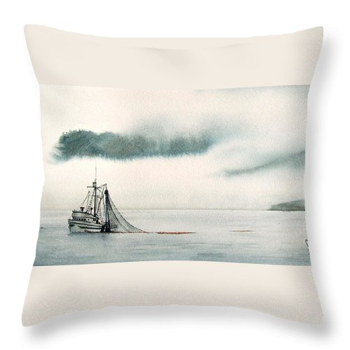 Fishing Boat Throw Pillow featuring the painting Catch Of The Day by Gale Cochran-Smith