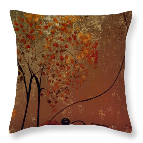 Abstract Throw Pillow featuring the mixed media Catch The Moon by Ruth Palmer