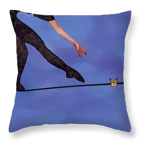 Surreal Throw Pillow featuring the painting Catching Butterflies by Steve Karol