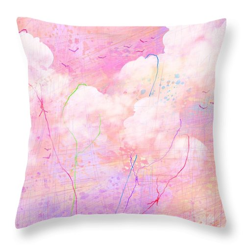 Abstract Throw Pillow featuring the digital art Catching Clouds by Rachel Christine Nowicki