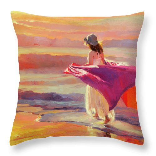 Coast Throw Pillow featuring the painting Catching the Breeze by Steve Henderson