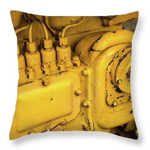 Yellow Throw Pillow featuring the photograph Caterpillar D2 Bulldozer 06 by Rick Piper Photography