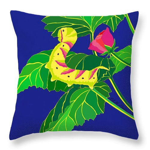 Nature Throw Pillow featuring the drawing Caterpillar by Lucyna A M Green