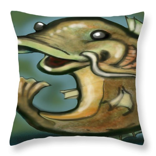 Catfish Throw Pillow featuring the digital art Catfish by Kevin Middleton