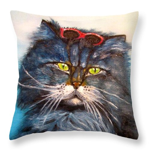 Cat Throw Pillow featuring the painting Cat.go To Swim.original Oil Painting by Natalja Picugina