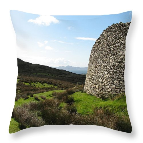 Fort Throw Pillow featuring the photograph Cathair Na Steige by Kelly Mezzapelle