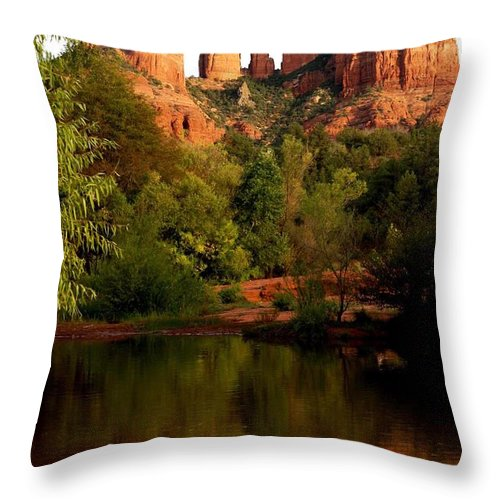 Cathedral Rock Vortex Throw Pillow featuring the photograph Cathdedral Rock Vortex by The Art With A Heart By Charlotte Phillips