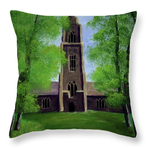Cathedral Throw Pillow featuring the painting Cathedral by Dawn Blair