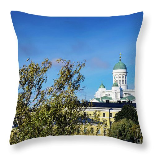 Architecture Throw Pillow featuring the photograph Cathedral Landmark And Central Helsinki View In Finland by Jacek Malipan