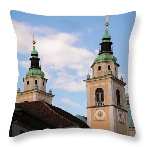 Ljubljana Throw Pillow featuring the photograph Cathedral Of St Nicholas In Ljubljana by Blaz Gvajc