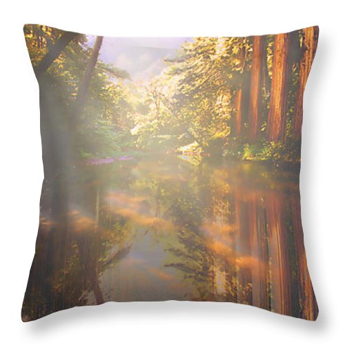 Cathedral Throw Pillow featuring the painting Cathedral Redwoods by Robby Donaghey