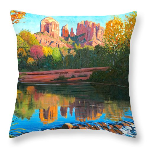 Oak Creek Throw Pillow featuring the painting Cathedral Rock - Sedona by Steve Simon