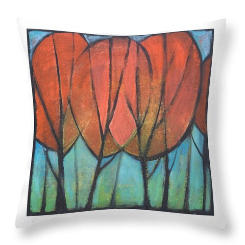 Trees Throw Pillow featuring the painting Cathedral by Tim Nyberg