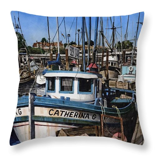 Transportation Throw Pillow featuring the painting Catherina G by James Robertson