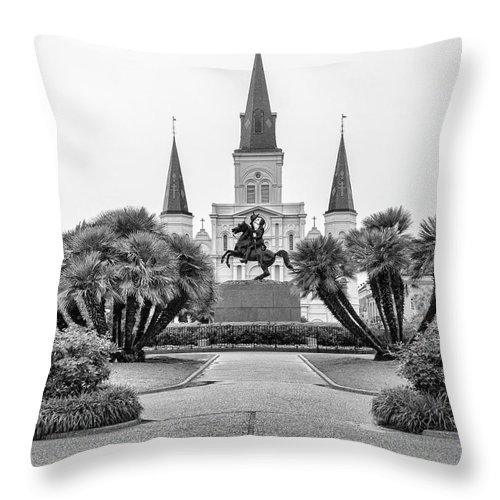 Andrew Jackson Throw Pillow featuring the photograph Catholic Basilica Jackson Sq Andrew Jackson New Orleans by Chuck Kuhn