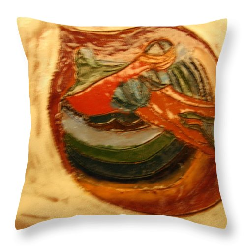Jesus Throw Pillow featuring the ceramic art Cathy - Tile by Gloria Ssali