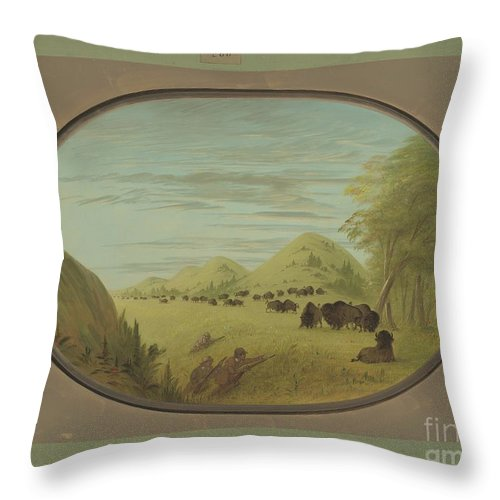Throw Pillow featuring the painting Catlin And Two Companions Shooting Buffalo by George Catlin