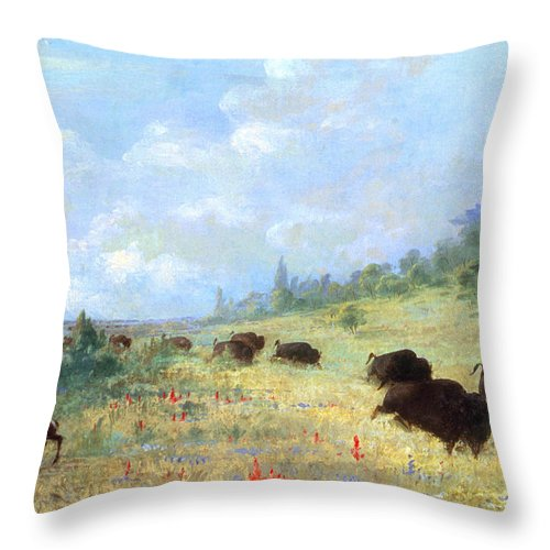 America Throw Pillow featuring the photograph Catlin: Elk & Buffalo by Granger