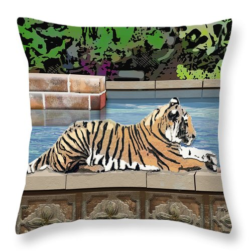 Tiger Throw Pillow featuring the digital art Catnap by Arline Wagner