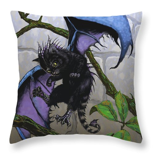 Fantasy Throw Pillow featuring the digital art Catragon by Stanley Morrison
