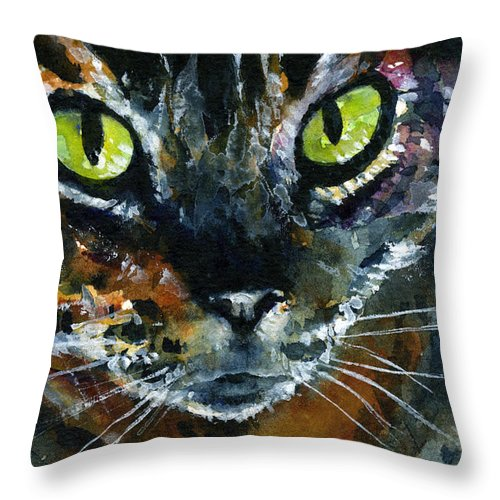 Eyes Throw Pillow featuring the painting Cats Eyes 16 by John D Benson