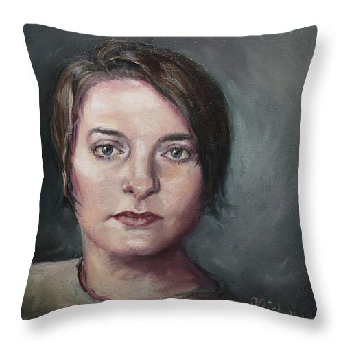 Eyes Throw Pillow featuring the painting Cat's Eyes by Pamela Nichols