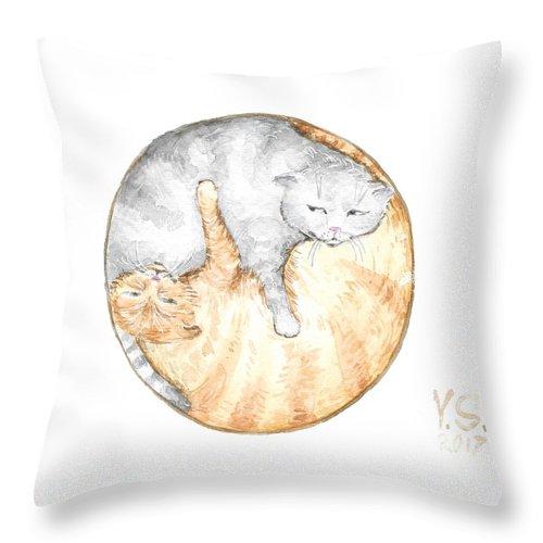 Cat Throw Pillow featuring the painting Cat's Harmony by Yana Sadykova