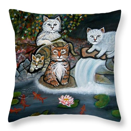 Acrylic Art Landscape Cats Animals Figurative Waterfall Fish Trees Throw Pillow featuring the painting Cats In The Wild by Manjiri Kanvinde