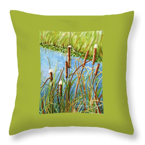 Cattails Watercolor Throw Pillow featuring the painting Cattails by Sally Storey Jones