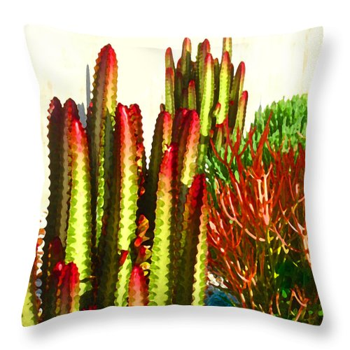 Landscape Throw Pillow featuring the painting Catus Garden by Amy Vangsgard
