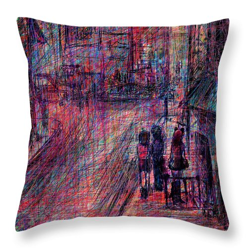 Abstract Throw Pillow featuring the digital art Catwoman by Rachel Christine Nowicki