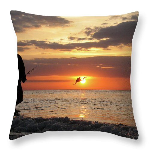 Sarasota Throw Pillow featuring the photograph Caught At Sunset by Dick Goodman