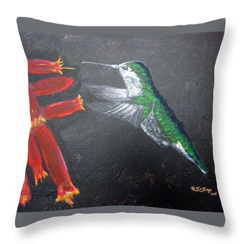 Hummingbird Throw Pillow featuring the painting Caught In The Flash by Richard Le Page