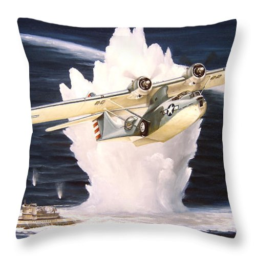 Military Throw Pillow featuring the painting Caught on the Surface by Marc Stewart