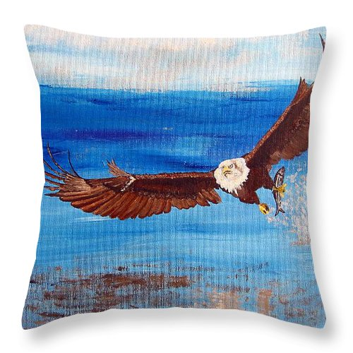 Eagle Throw Pillow featuring the painting Caught You by Richard Le Page