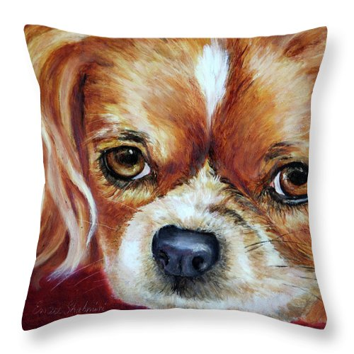 Dogs Throw Pillow featuring the painting Cavalier King Charles Spaniel by Portraits By NC