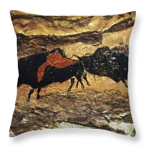 15000 Throw Pillow featuring the photograph Cave Art: Bison by Granger