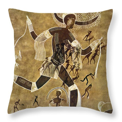 African Throw Pillow featuring the photograph Cave Art by Granger