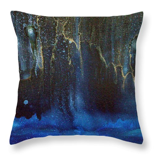 Cave Throw Pillow featuring the painting Cave Dwellers by Kim Peto