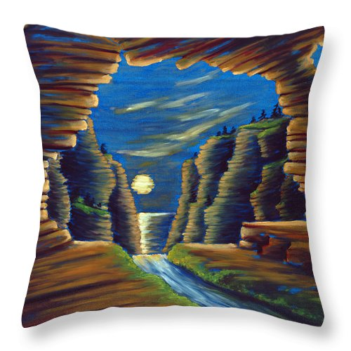 Cave Throw Pillow featuring the painting Cave With Cliffs by Jennifer McDuffie